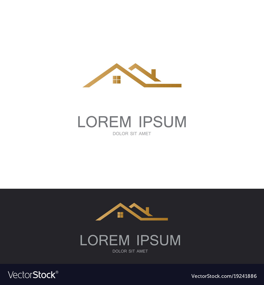 Roof building gold logo