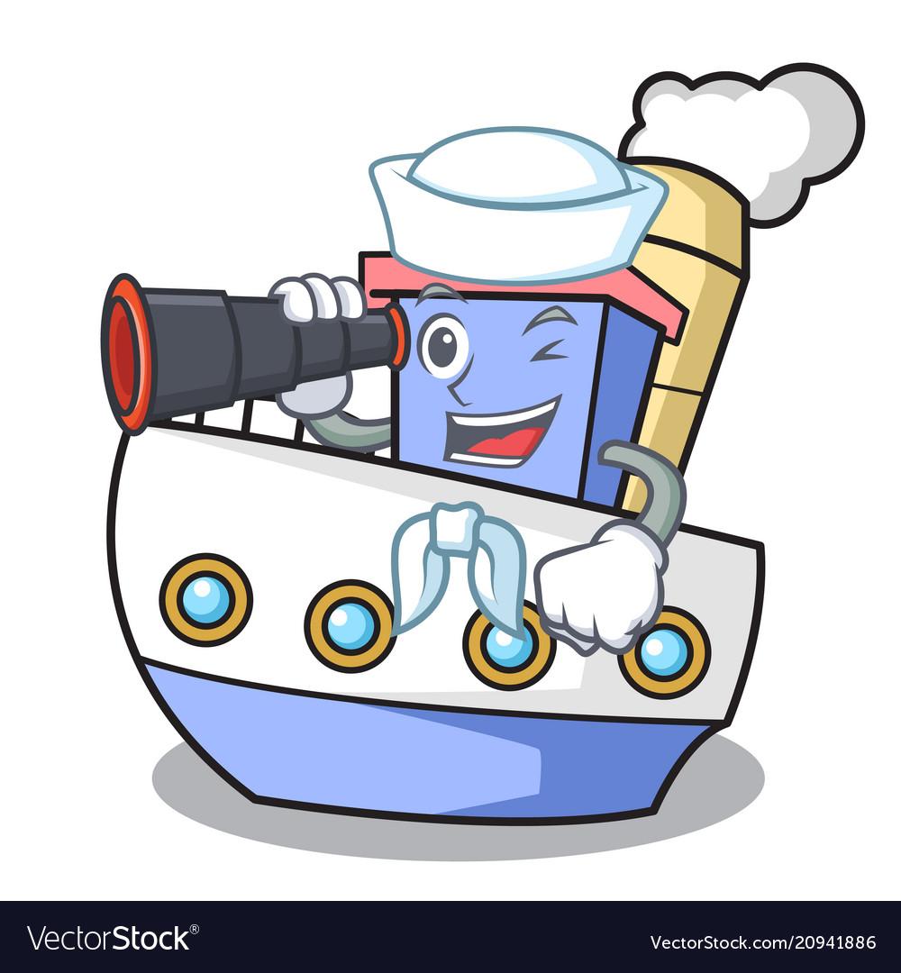 Sailor with binocular ship mascot cartoon style