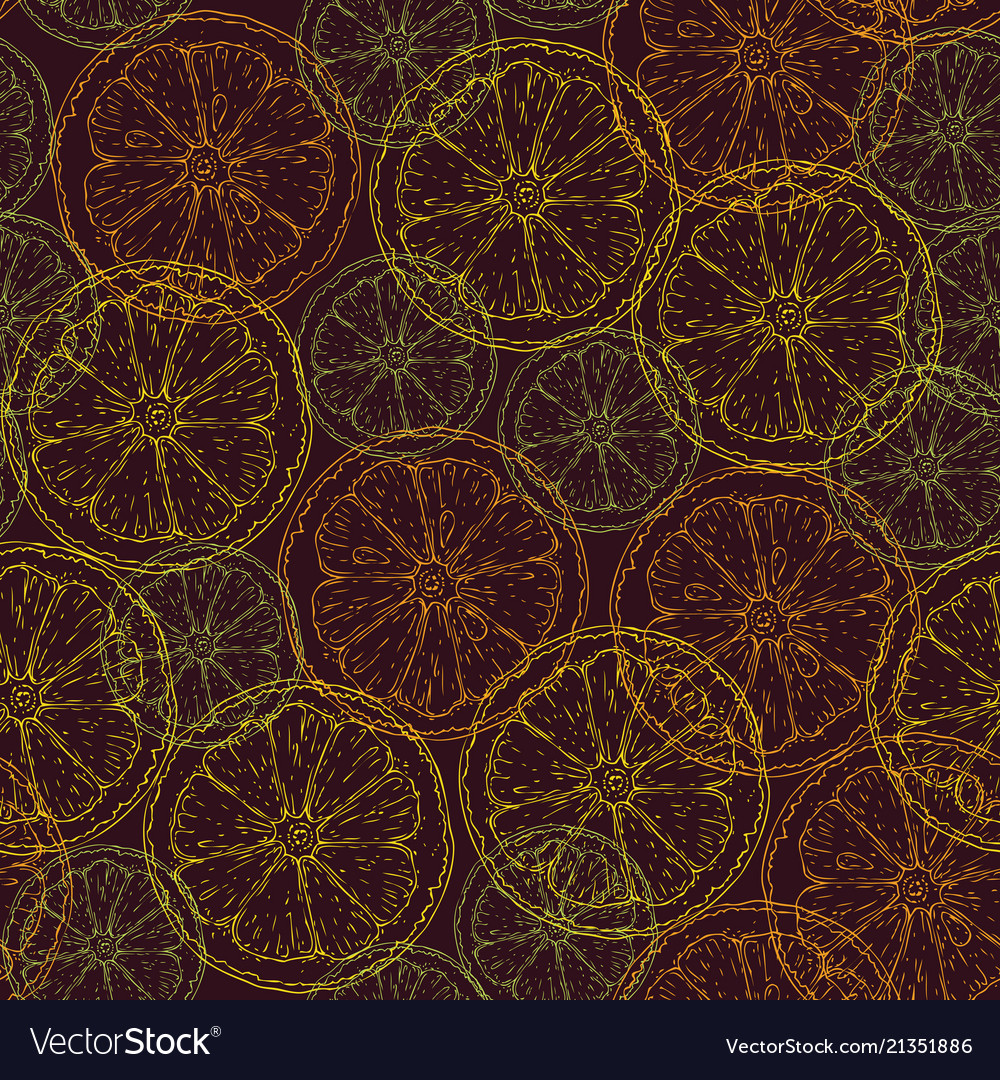 Seamless pattern with citrus slices