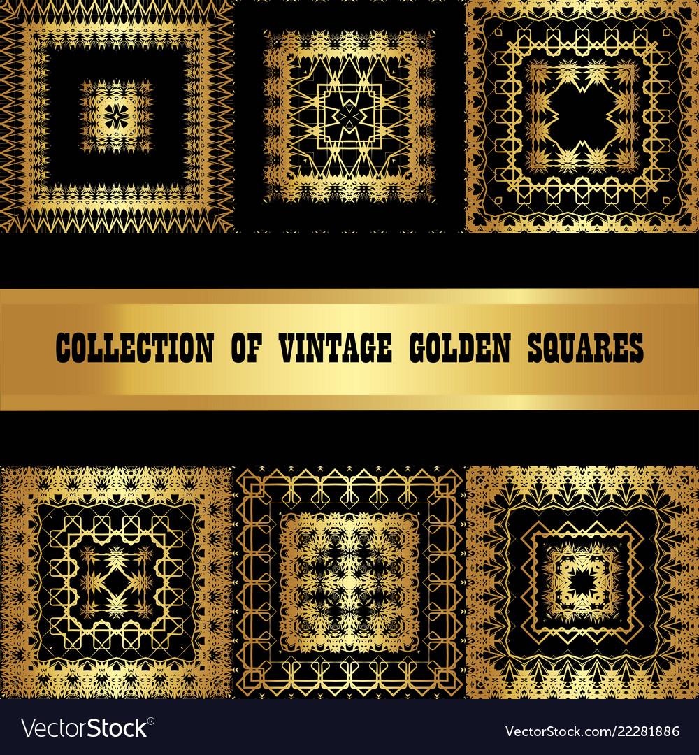 Set a collection of golden square frames vintage