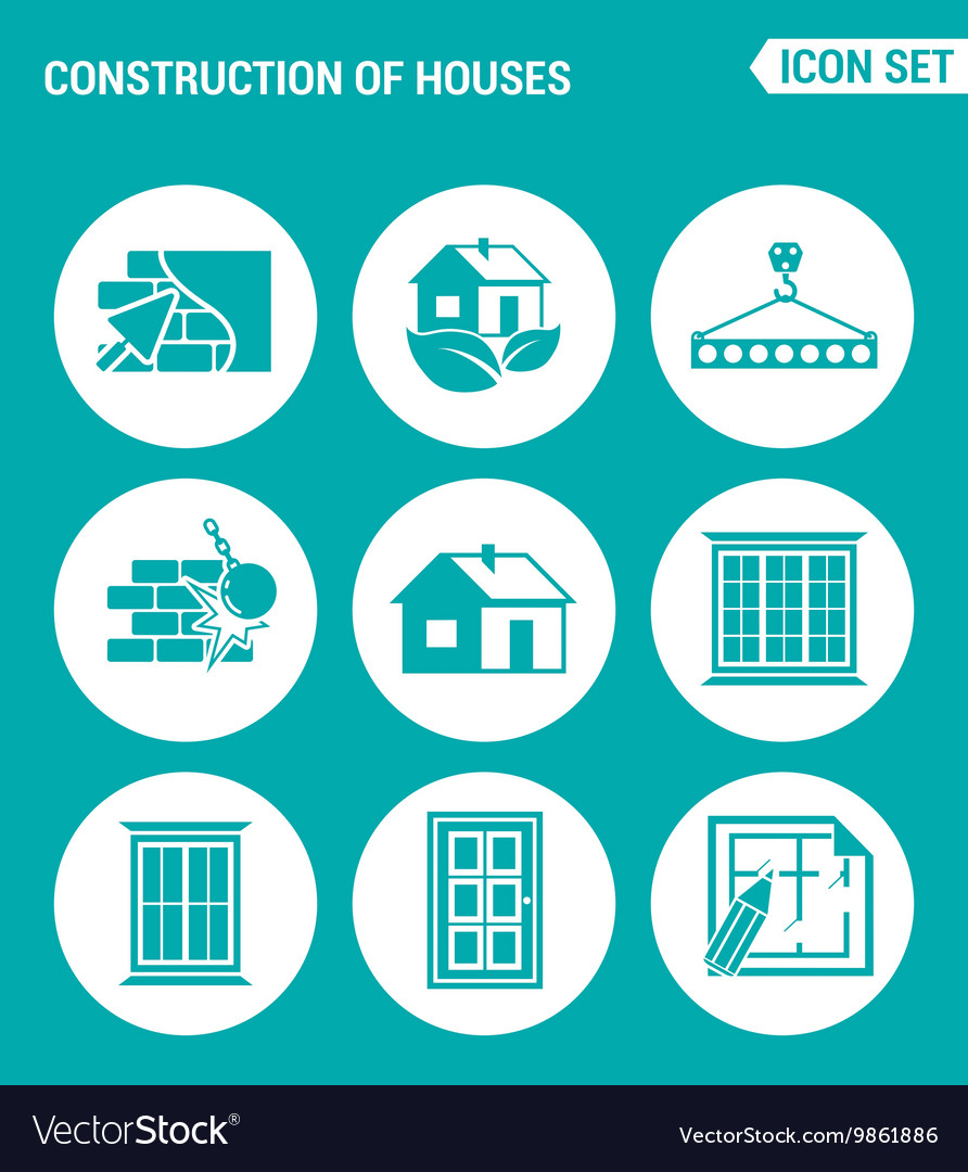Set of round icons white Construction of houses