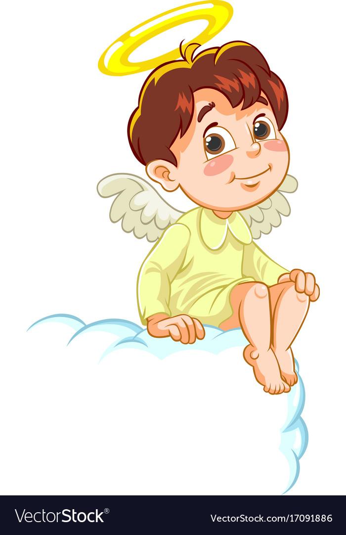 Sitting little baby angel