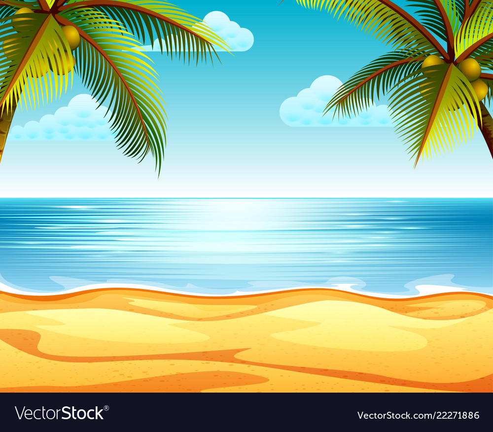 Sandy Beach: Tropical Beach View With The Sandy Beach Vector Image