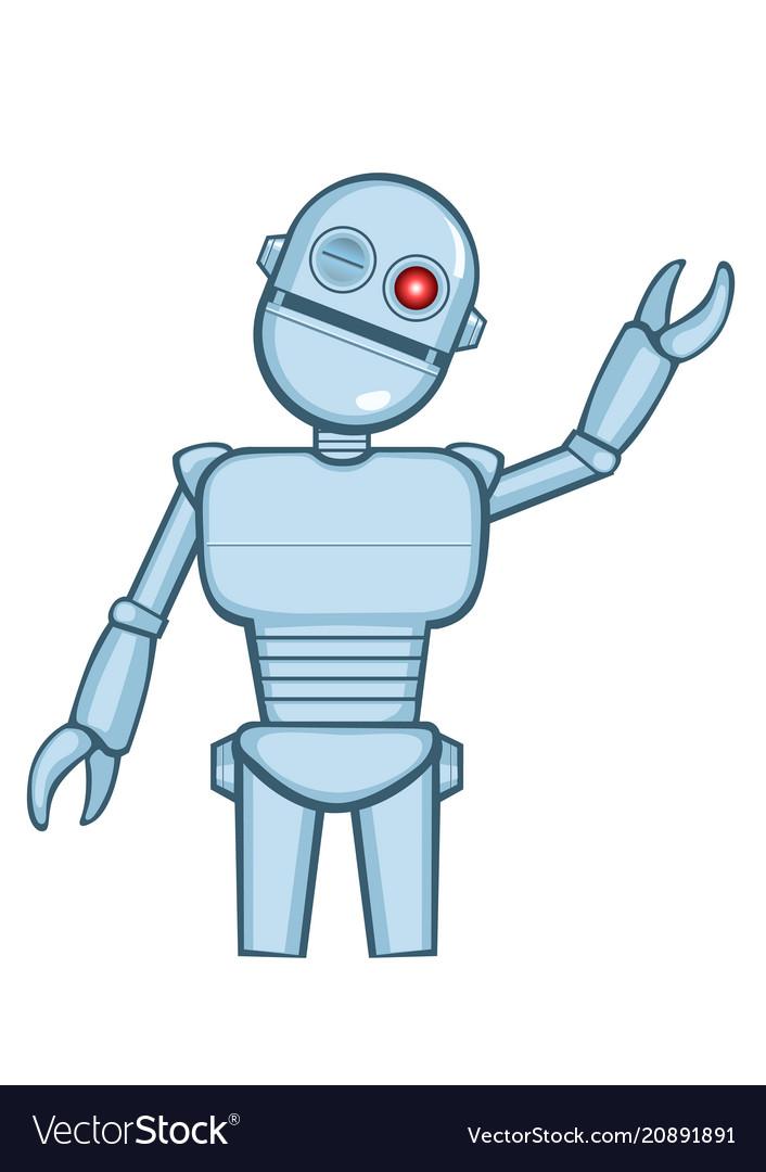 A isolated metallic robot saying hello