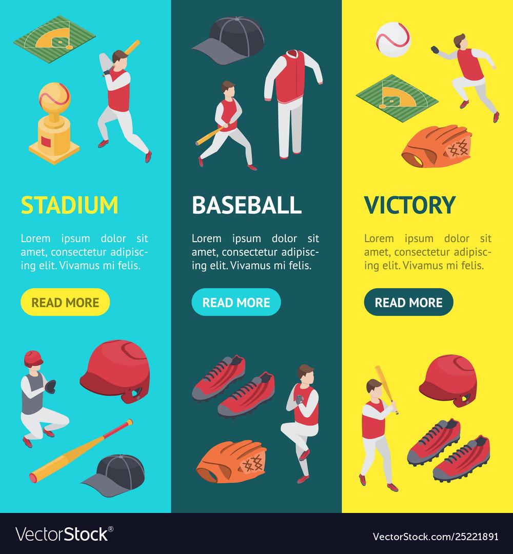 Baseball game sport signs 3d banner vecrtical set