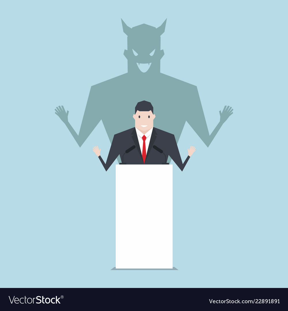 Businessman talking on podium with shadow of devil