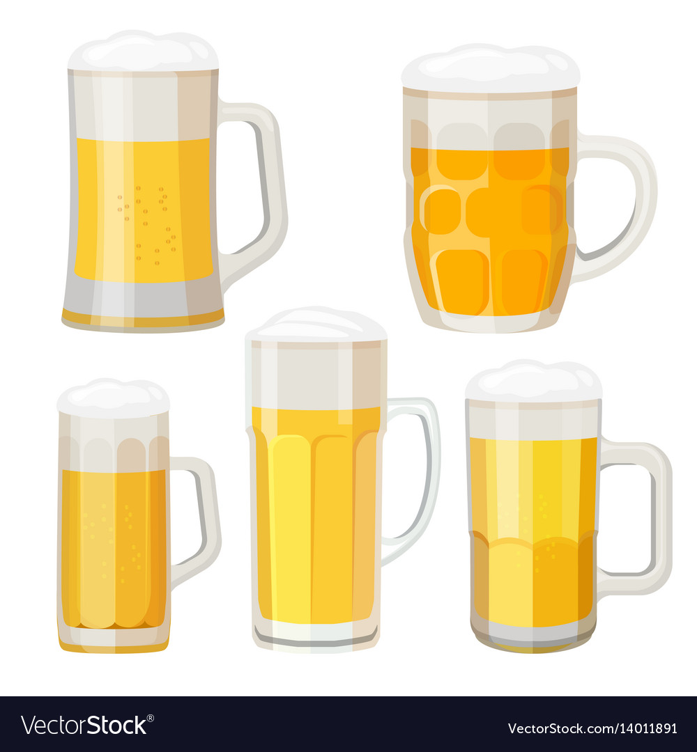 Collection of beer mugs with handles isolated on