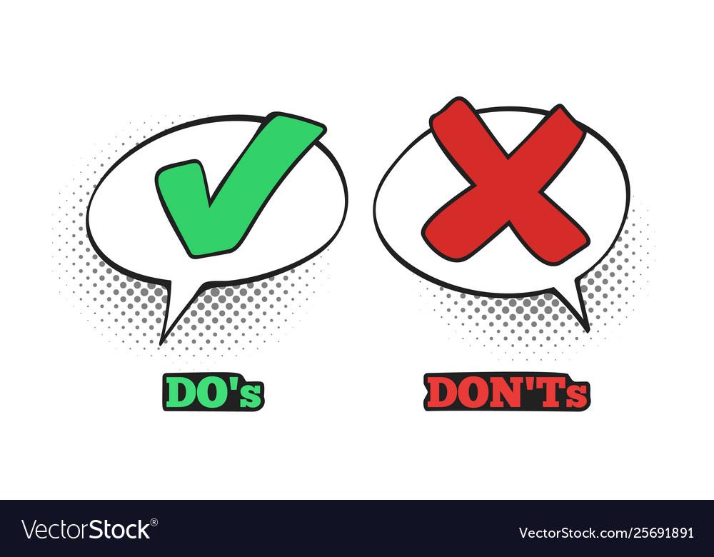 Do and dont comic sign ok check mark no dialogue