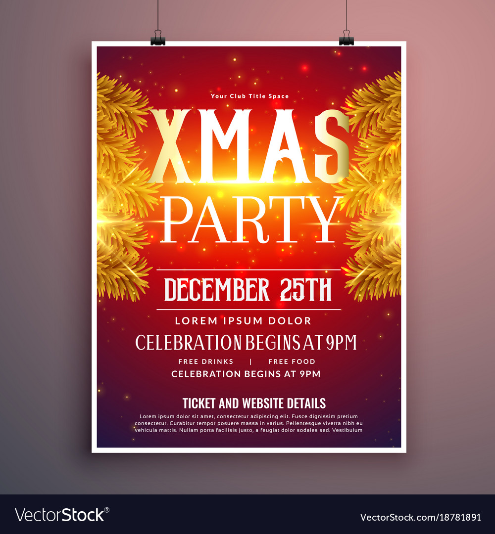 Christmas Party Flyer.Elegant Christmas Party Flyer Design With Golden