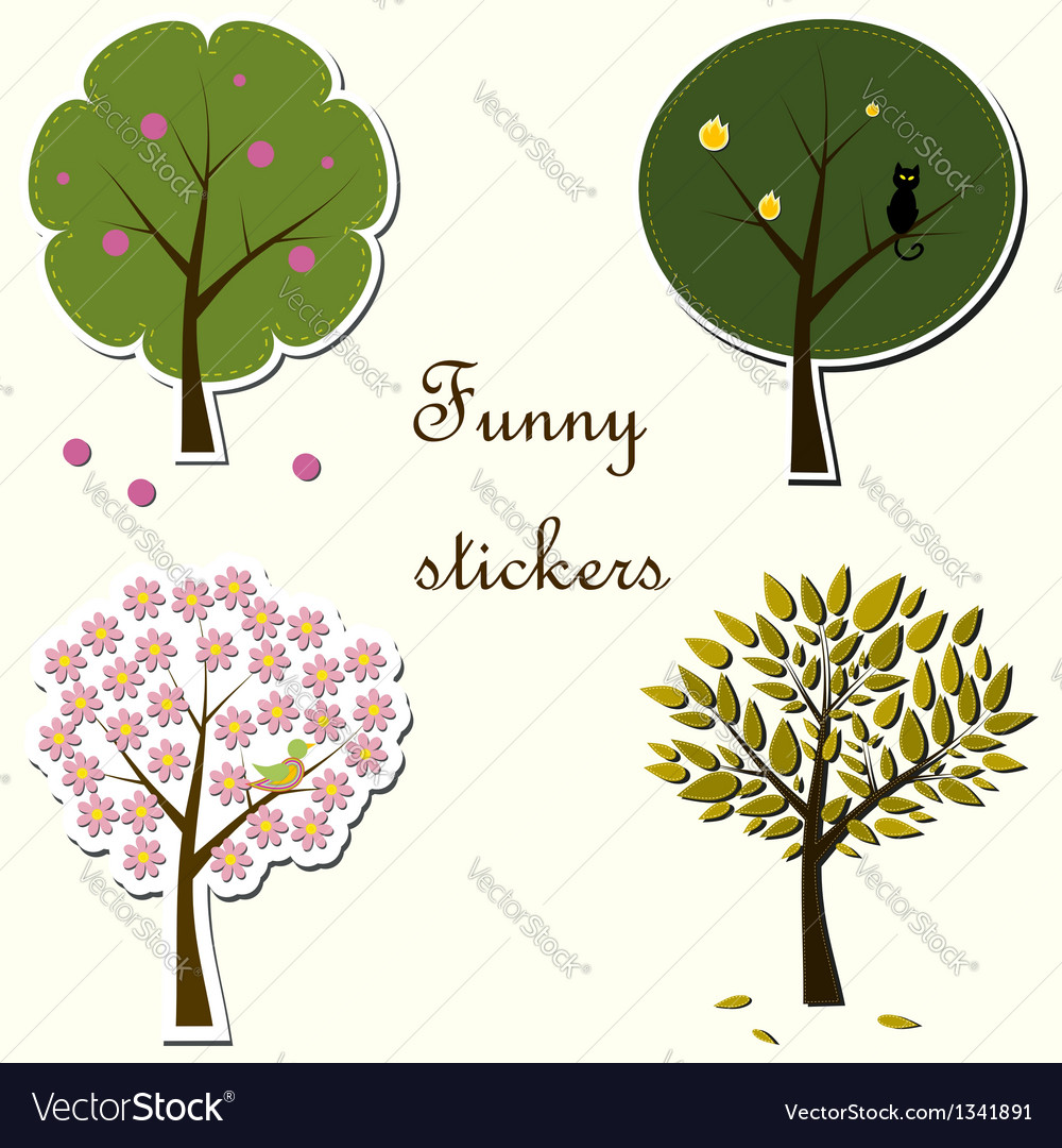 Funny stickers with trees