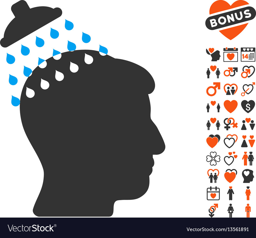 Head shower icon with love bonus