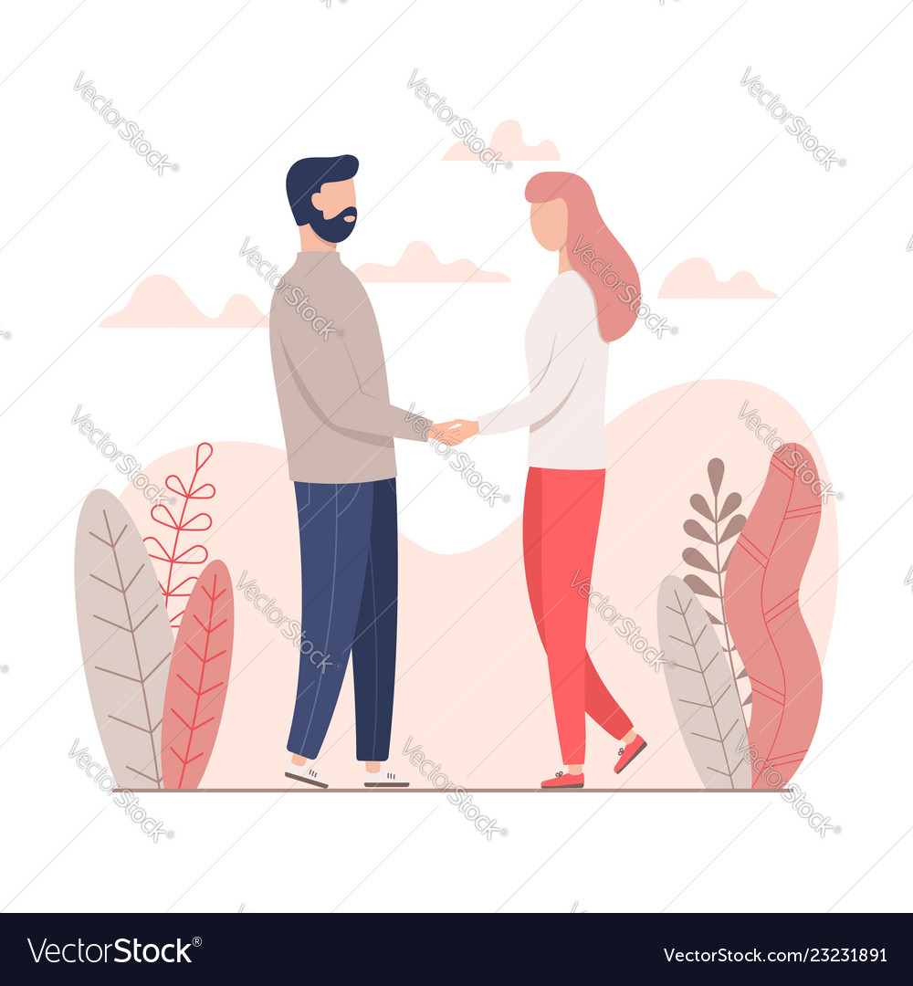 Man and woman holding hands for valentines day