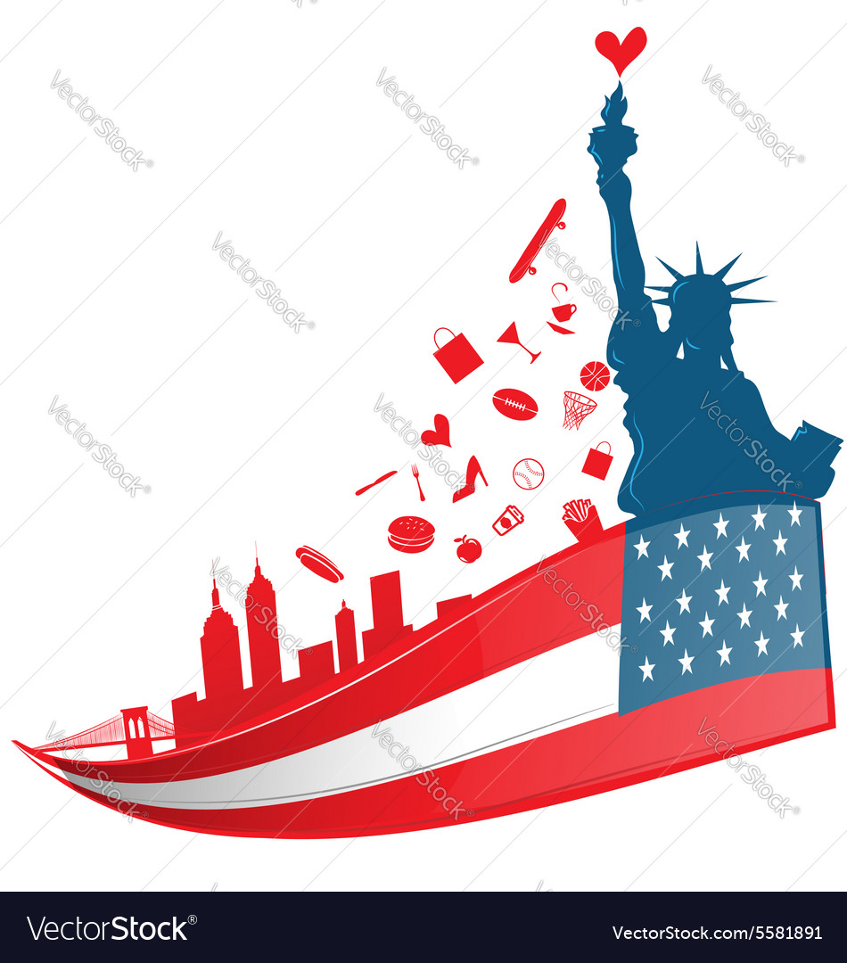 New york city symbol on USA flag