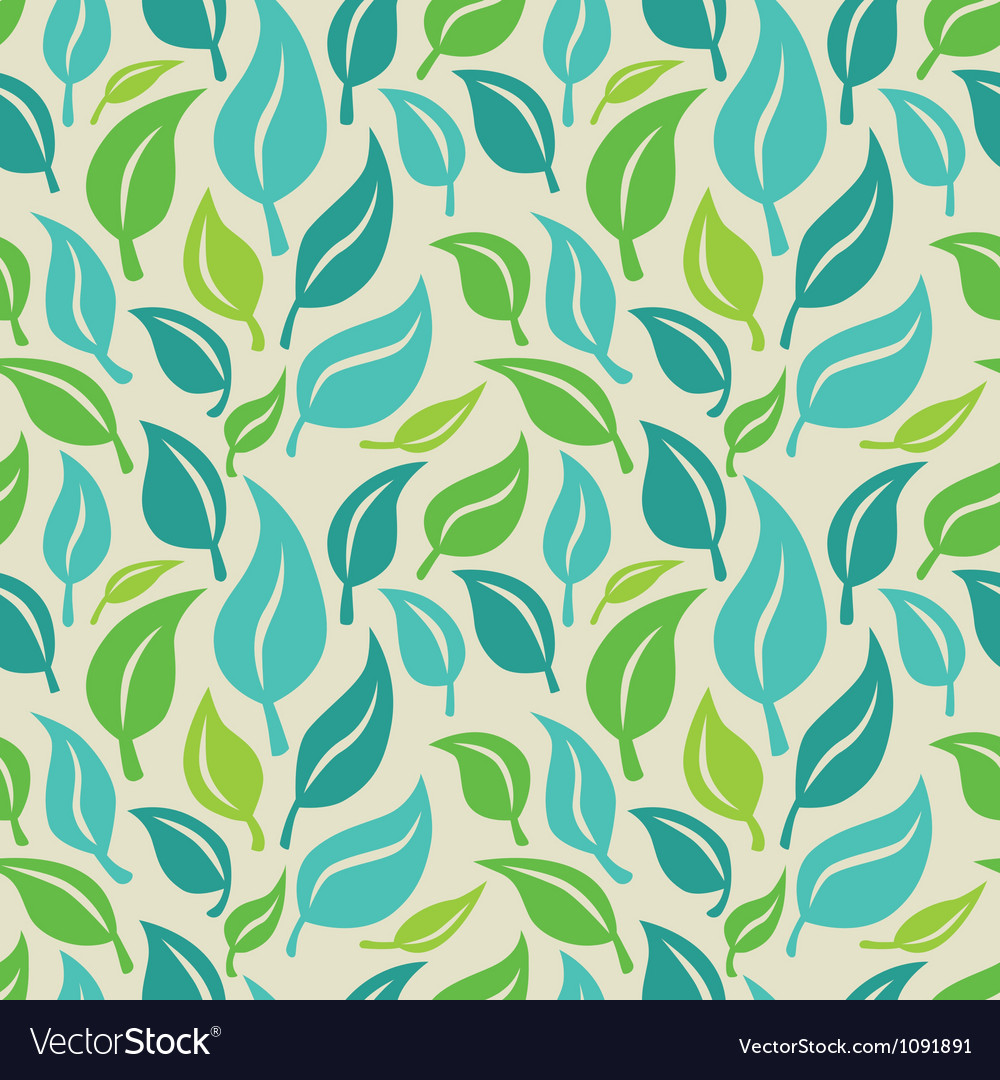 Seamless background with green and blue leaves
