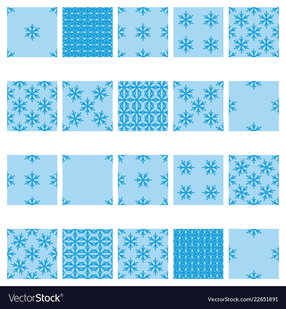 Simple snowflake seamless set 02