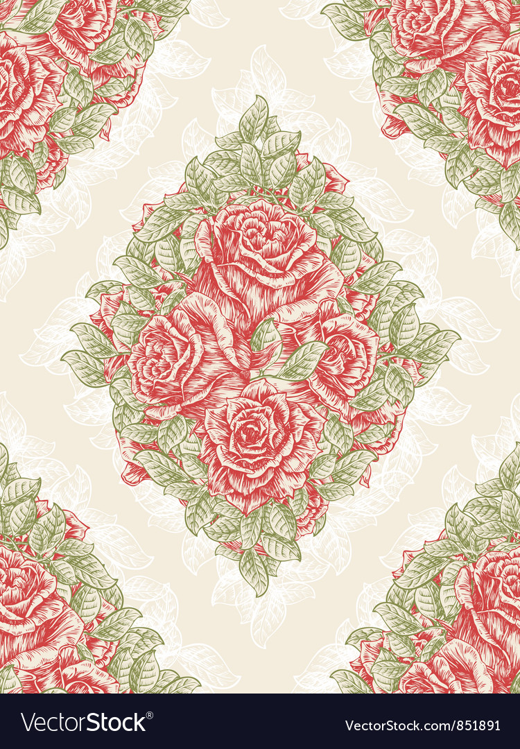 Vintage Seamless Floral Wallpaper Royalty Free Vector Image