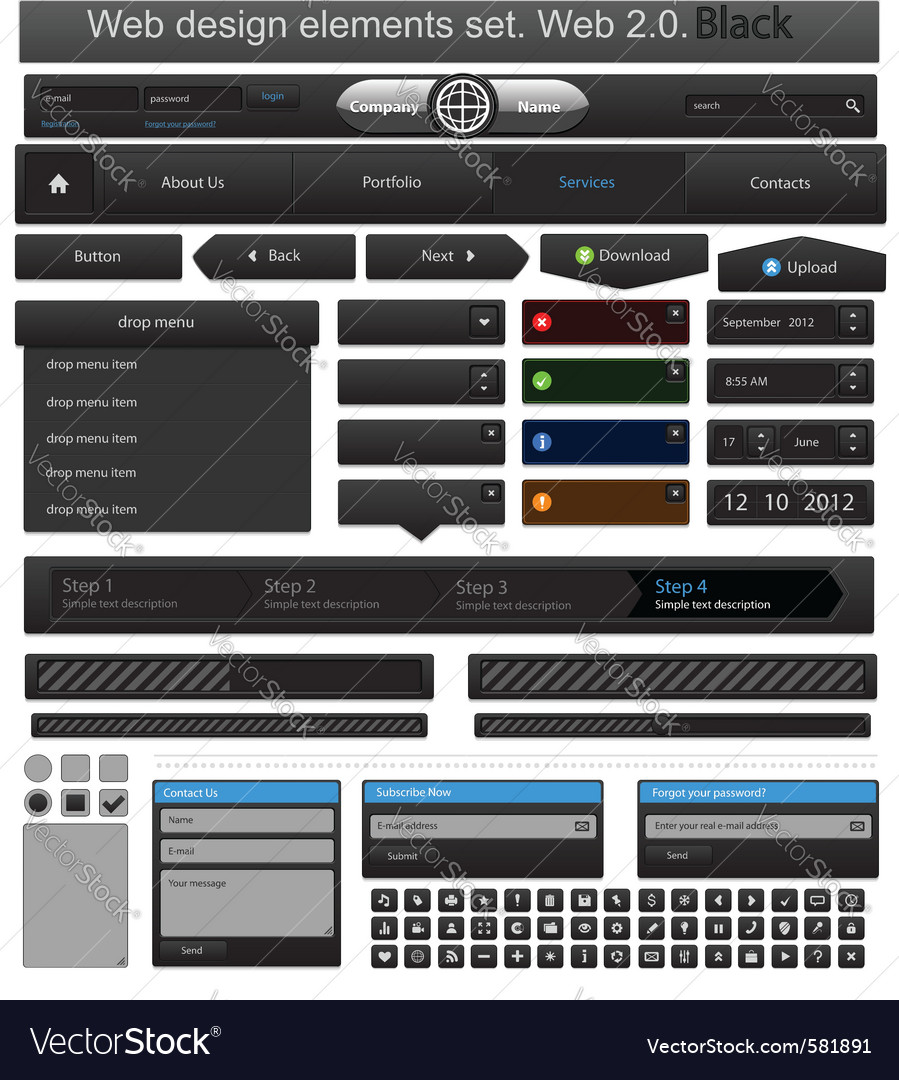 Web design elements set black