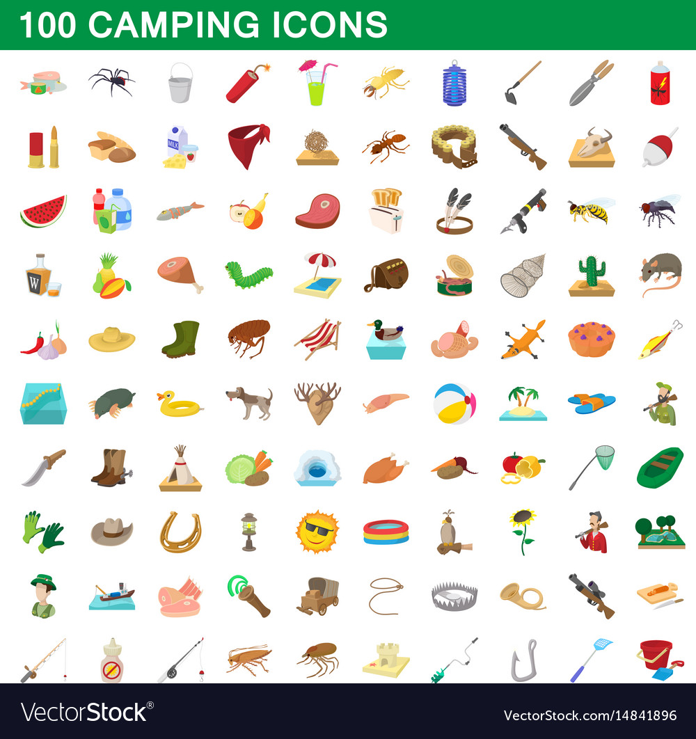 100 camping icons set cartoon style