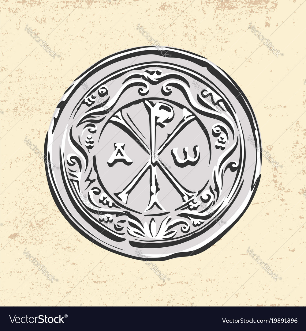 Ancient Christian Symbol Of Jesus Christ Vector Image