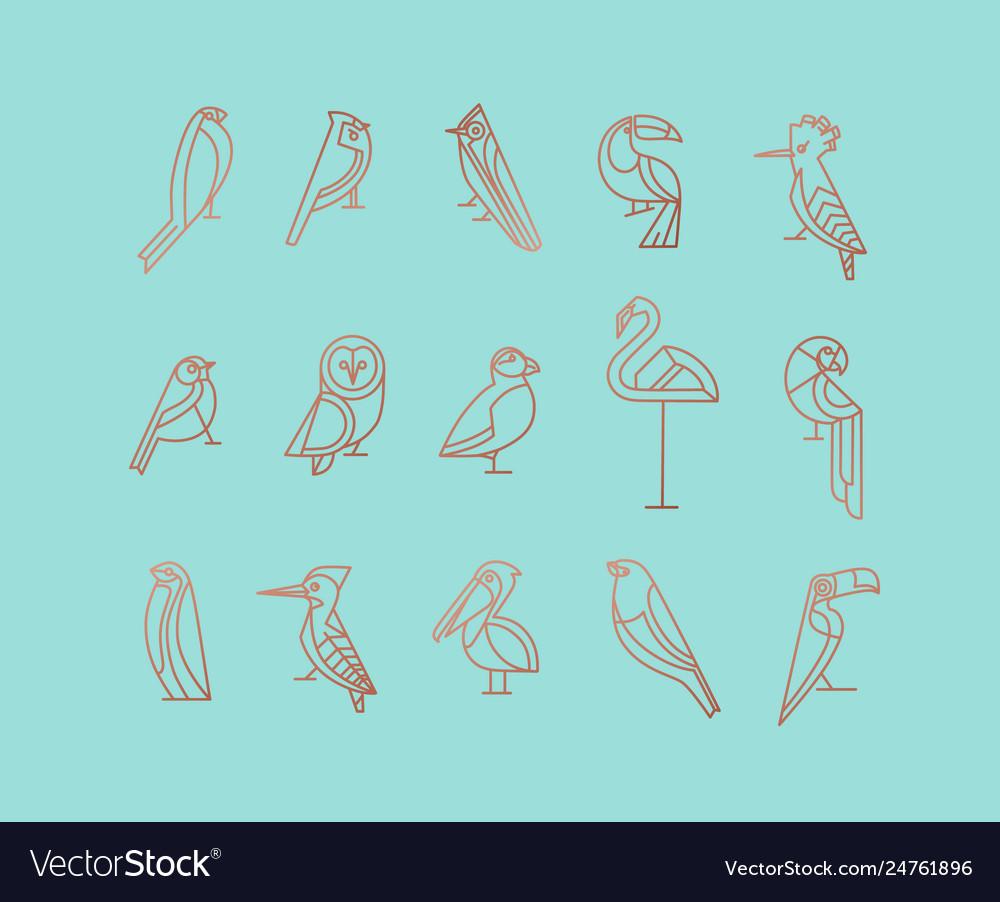Birds art deco flat graphic turquoise
