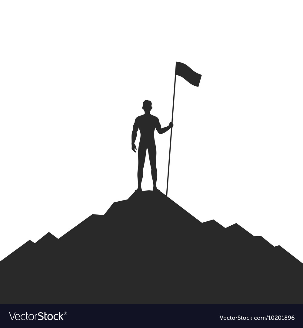 Businessman Holding Flag on Mountain vector image