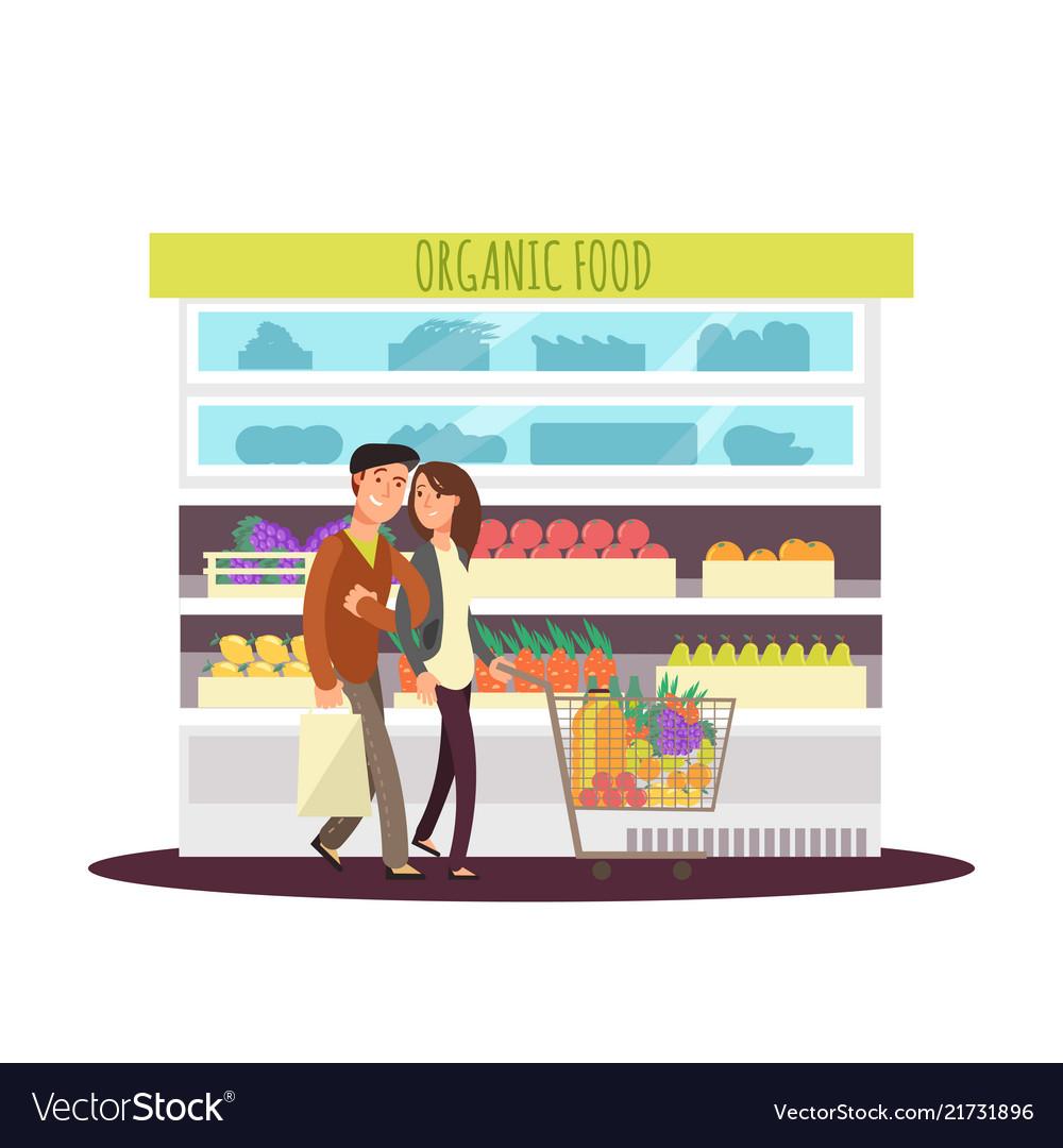 Cartoon character happy couple buy organic fruits