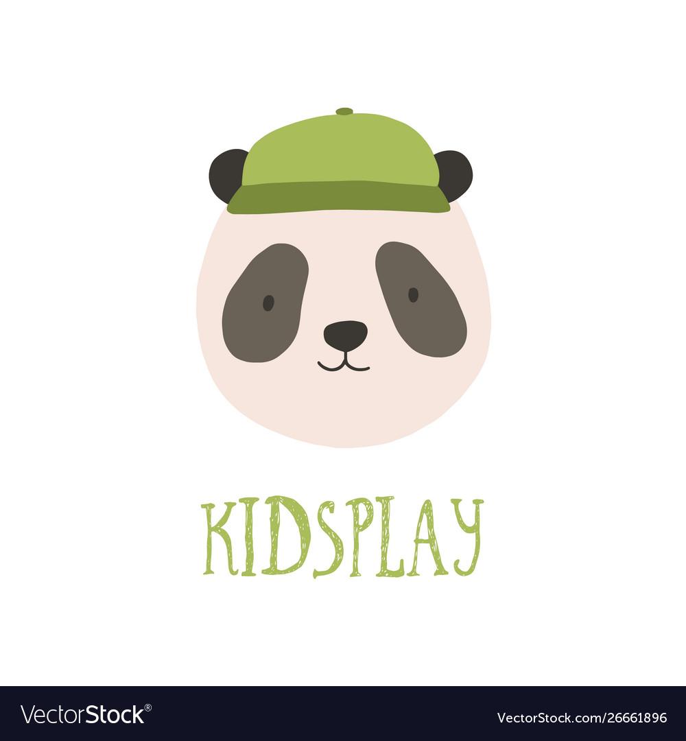 Cute face or head panda bear wearing stylish
