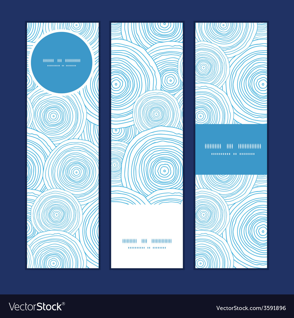 Doodle circle water texture vertical banners set