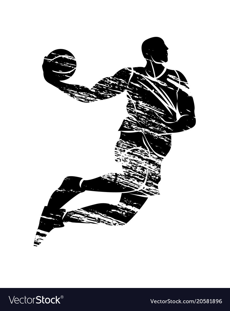grunge silhouette basketball player royalty free vector rh vectorstock com basketball player victory from tacoma academy basketball player vector png