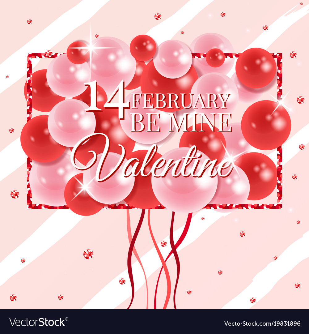 Happy Valentines Day Card With Balloons Royalty Free Vector