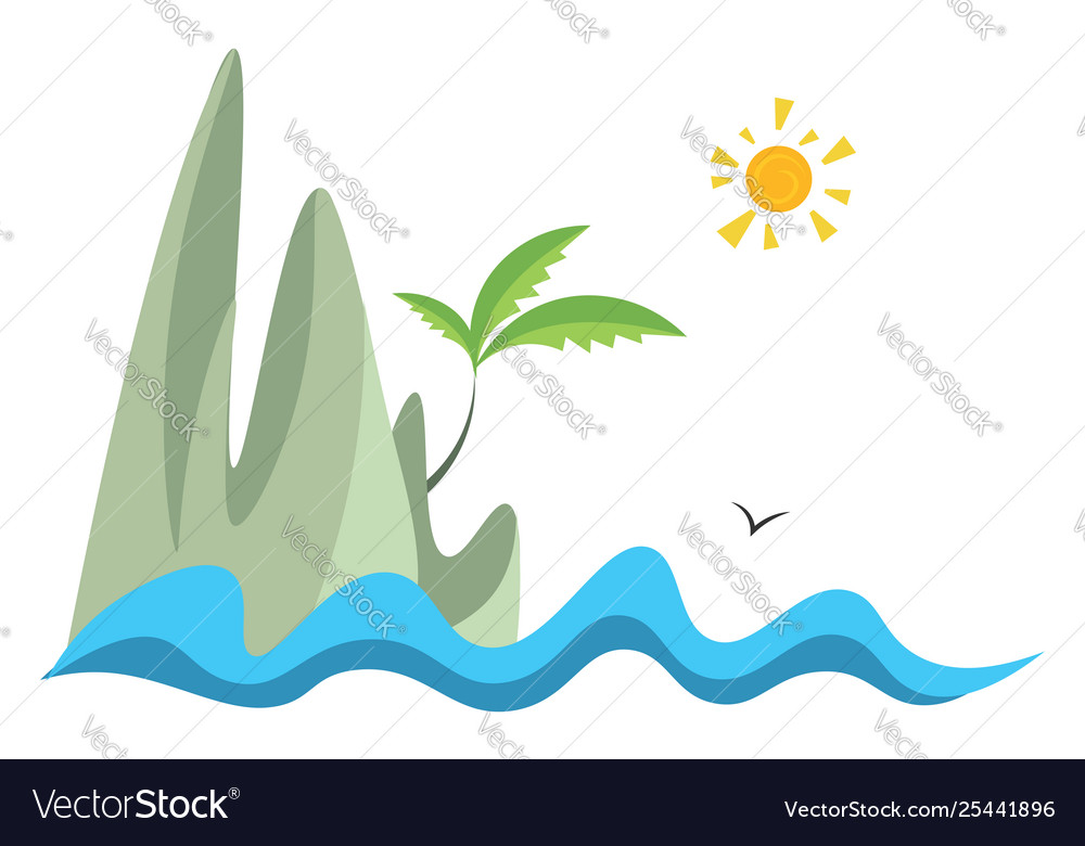 Island hand drawn design on white background