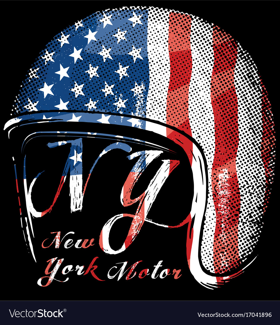 Motorcycle helmet with american flag graphic for