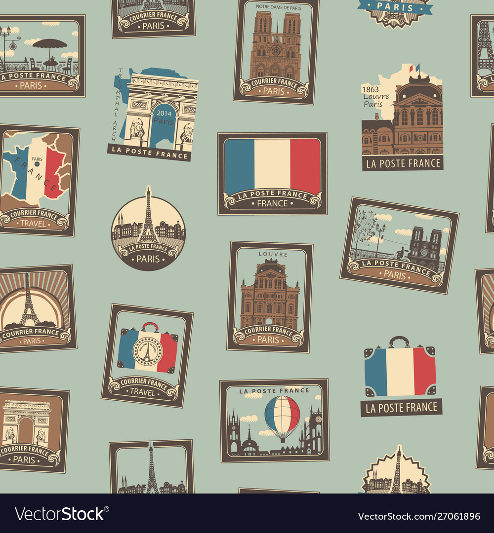 Seamless background on theme france and paris