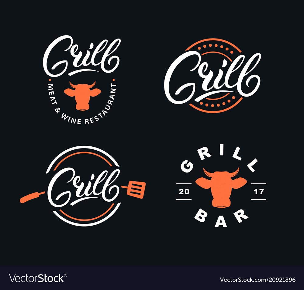 Set of hand written lettering grill logo
