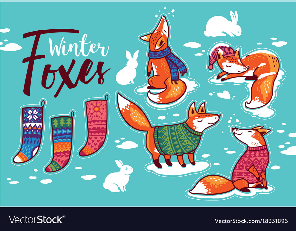 Stickers collection with cartoon foxes in cozy