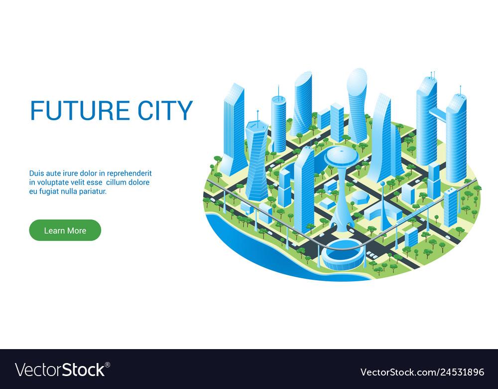 Template for futuristic cityscape