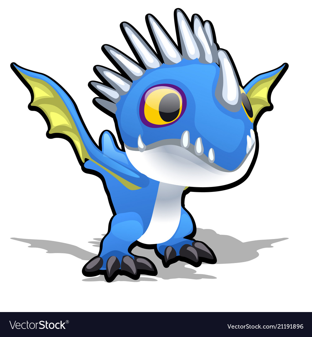 Toy dragon in blue color isolated on white