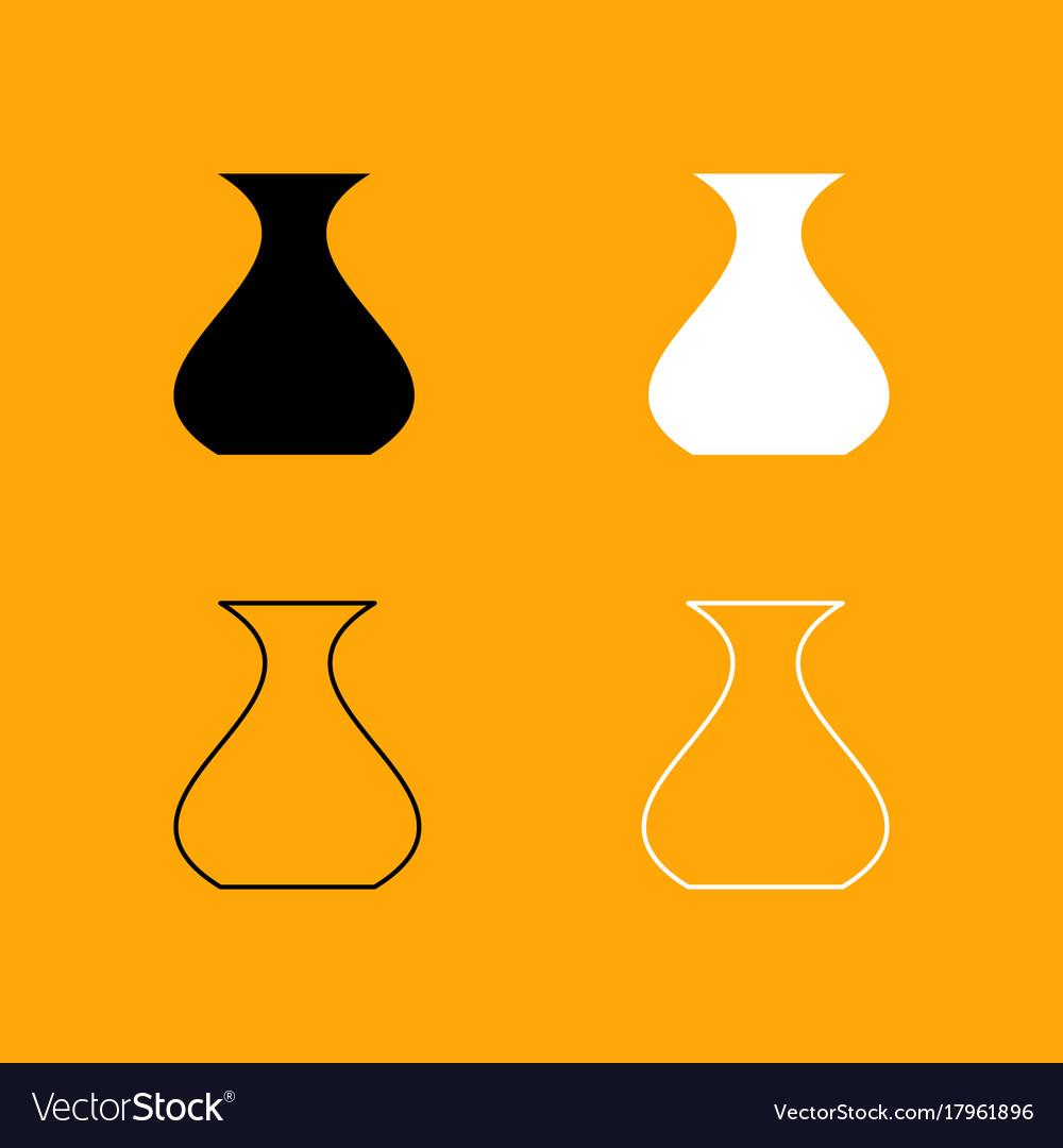Vase black and white set icon