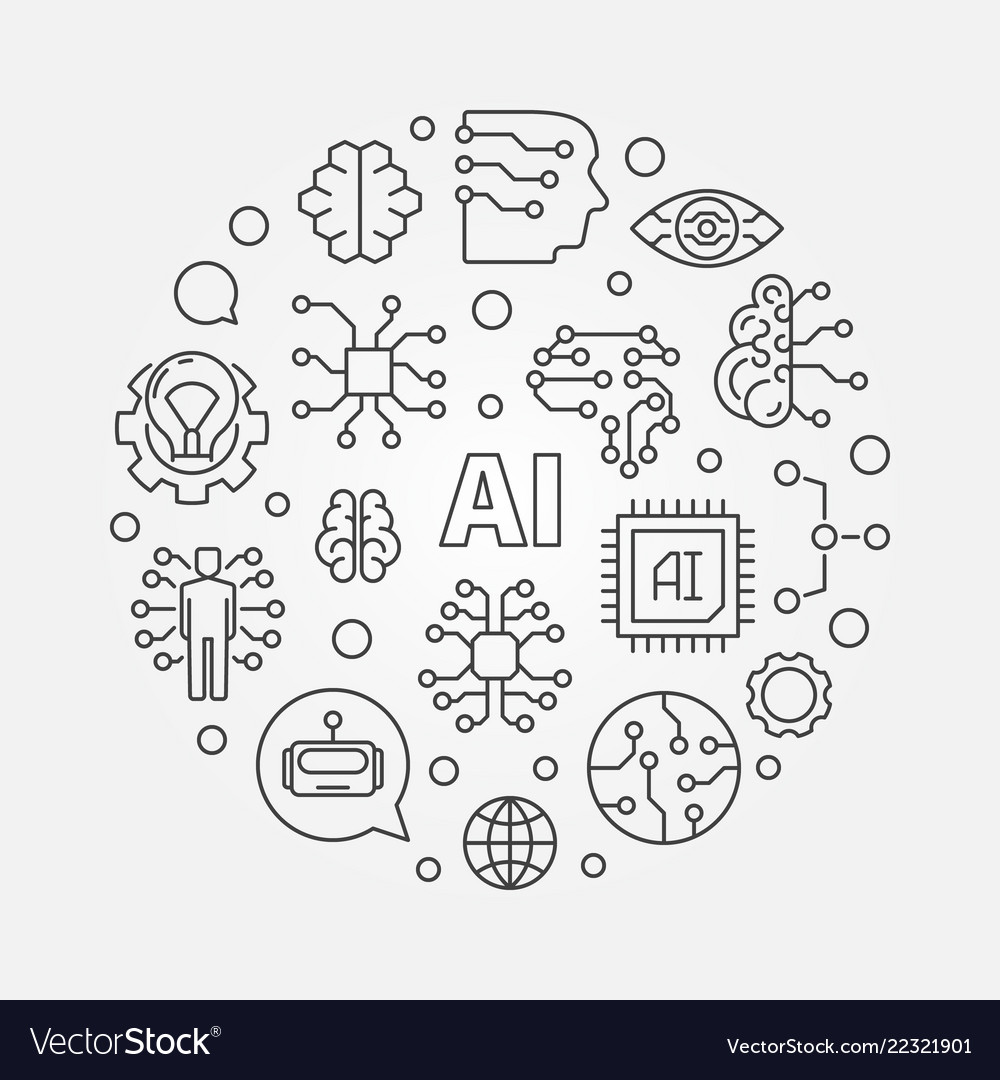 Ai artificial intelligence concept round