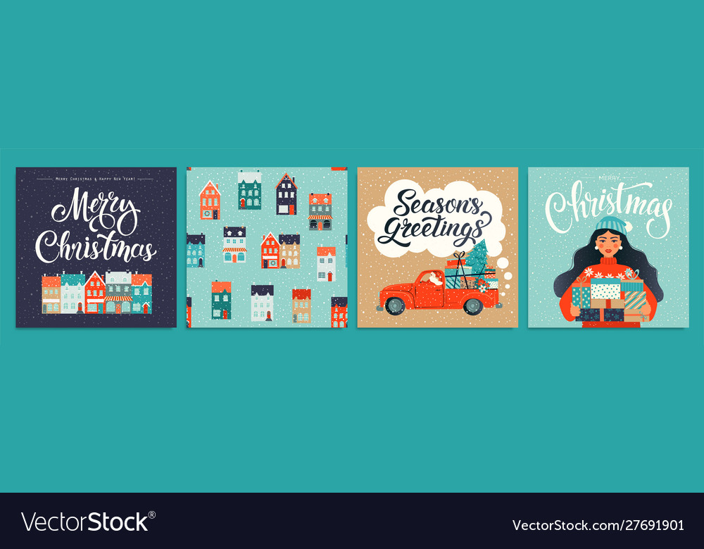 Christmas and new year template set for greeting