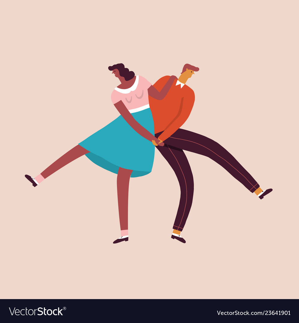 Dancing characters couple card in retro 50s style