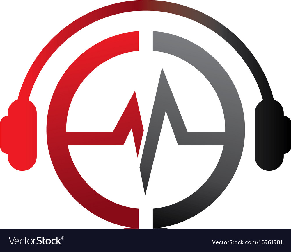 e letter dj in headphone logo template royalty free vector