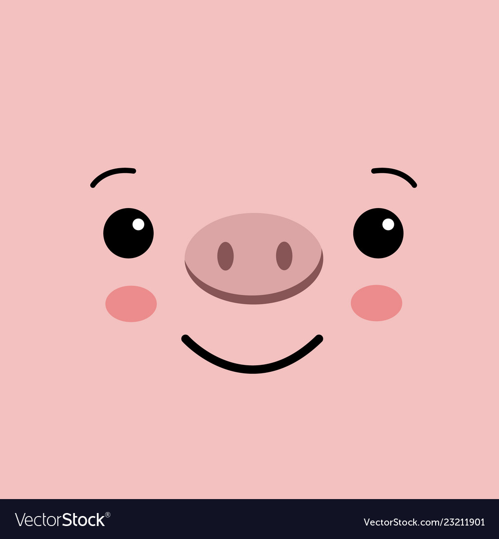 Funny Kawaii Pig Face On Pink Background Cute Pig Vector Image