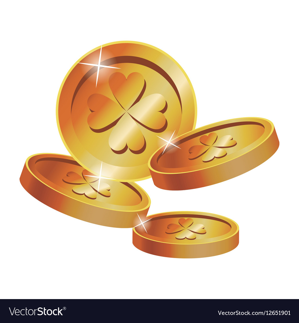 Gold Coins Clover St Patrick Day Vector Image