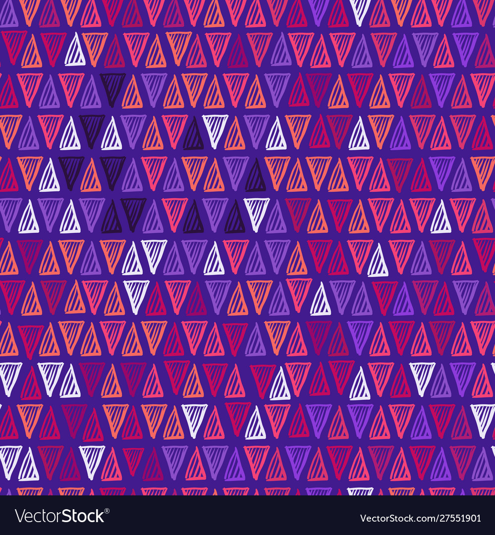 Hand drawn triangle seamless pattern in purple