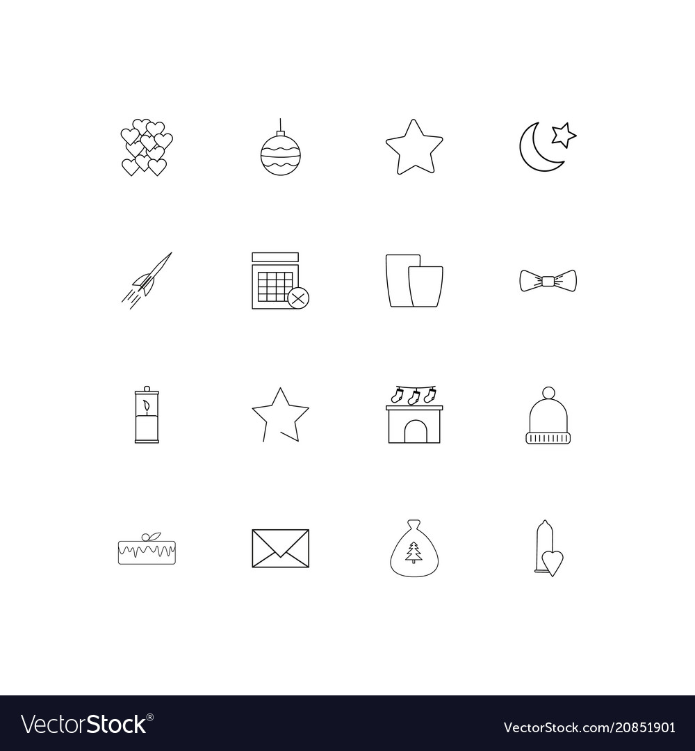 Holidays linear thin icons set outlined simple