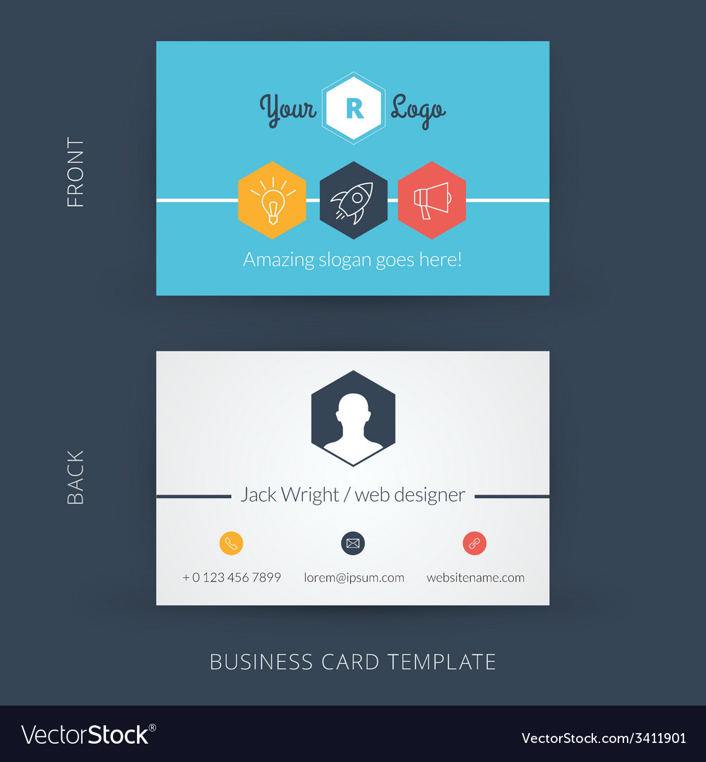 Modern creative business card template flat design modern creative business card template flat design vector image accmission