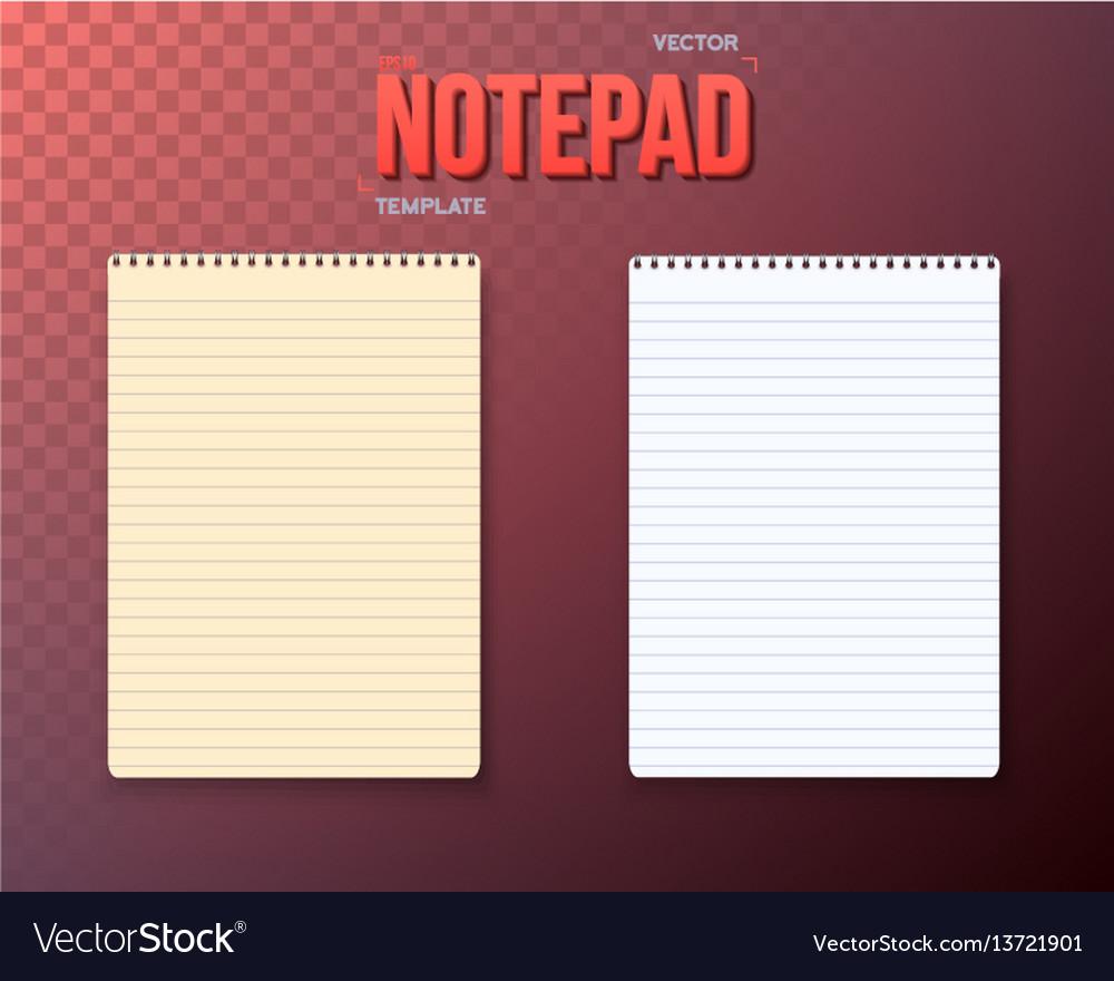 Notepad paper notebook template set