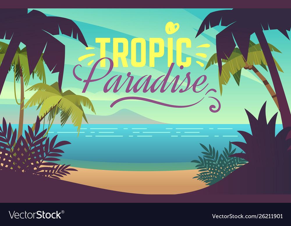 Palm tree beach ocean sunset with sand coast