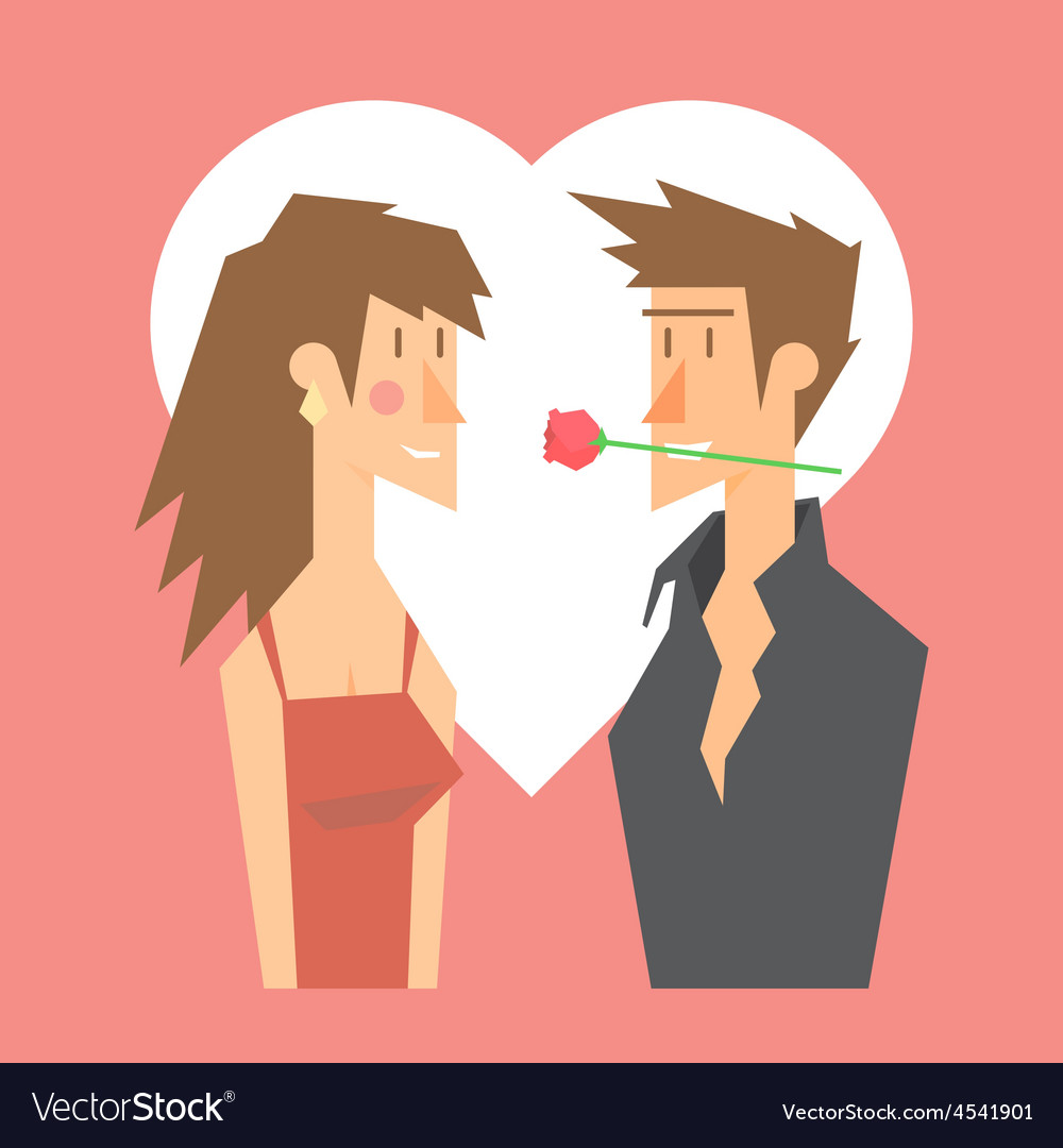 Romantic couple dating valentine flat design vector image